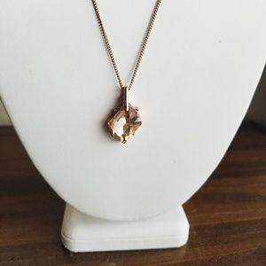 NWOT Rose Gold Crystal Pendant Necklace